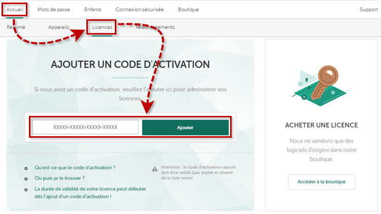 Ajouter un code d'activation de Kaspersky Security Cloud 20 dans My Kaspersky