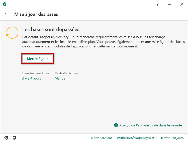 Lancer la mise à jour des bases de données antivirus de Kaspersky Internet Security 20 via l'interface de l'application