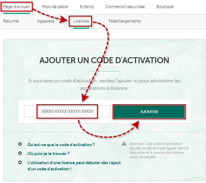 Ajouter un code d'activation de Kaspersky Security Cloud 19 dans My Kaspersky