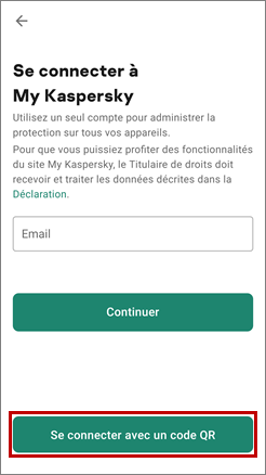 Se connecter à My Kaspersky à l'aide du code QR dans Kaspersky VPN Secure Connectiоn for Android