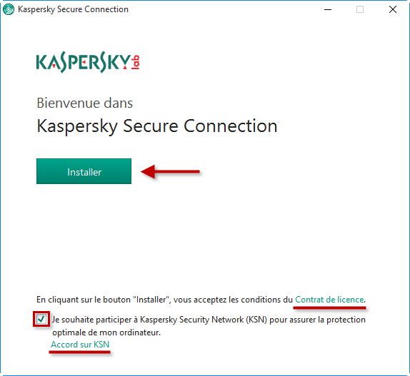 Image : lancez l'installation de Kaspersky Secure Connection