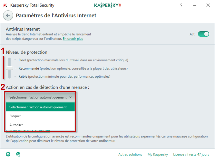 Image : paramètres de l'Antivirus Internet dans Kaspersky Total Security 2018