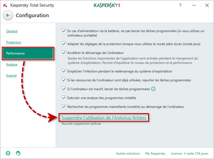 Image : option Suspendre l'utilisation de l'Antivirus Fichiers dans la section Performance de Kaspersky Total Security 2018.