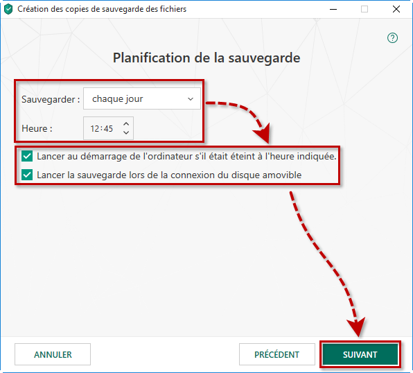 Configurer la planification de la sauvegarde dans Kaspersky Total Security 19