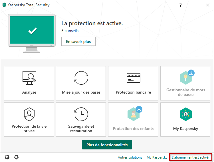 Opening the Licensing window of Kaspersky Total Security 20