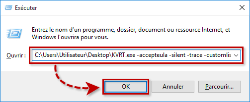 Exemple d'une commande pour Kaspersky Virus Removal Tool