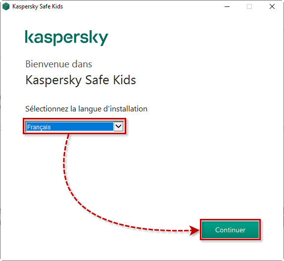 Passer à l'installation de Kaspersky Safe Kids for Windows