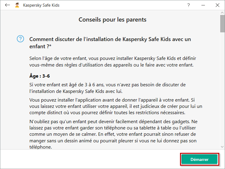 Démarrer la configuration de Kaspersky Safe Kids for Windows