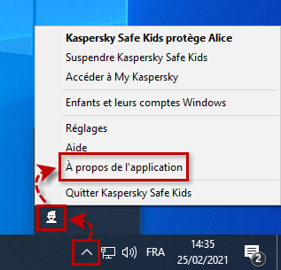 Ouvir les informations sur l'application Kaspersky Safe Kids pour Windows