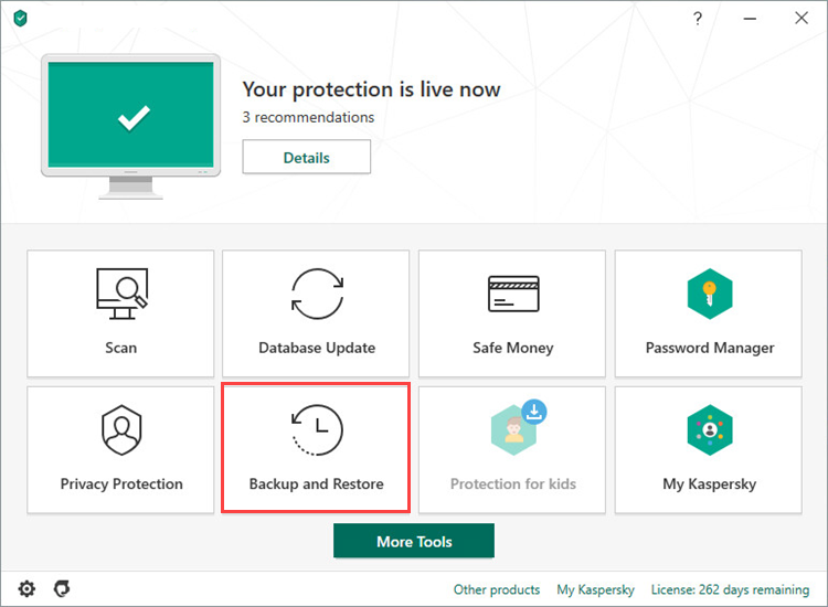 Opening Backup and Restore in Kaspersky Total Security 20
