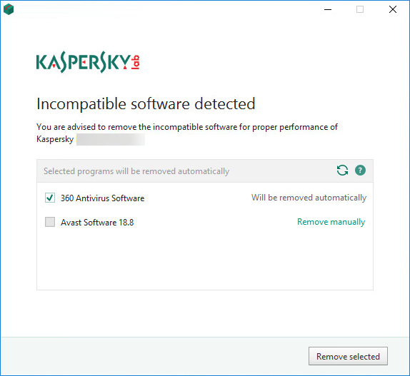 Selecting to not remove incompatible applications while installing Kaspersky Internet Security 19