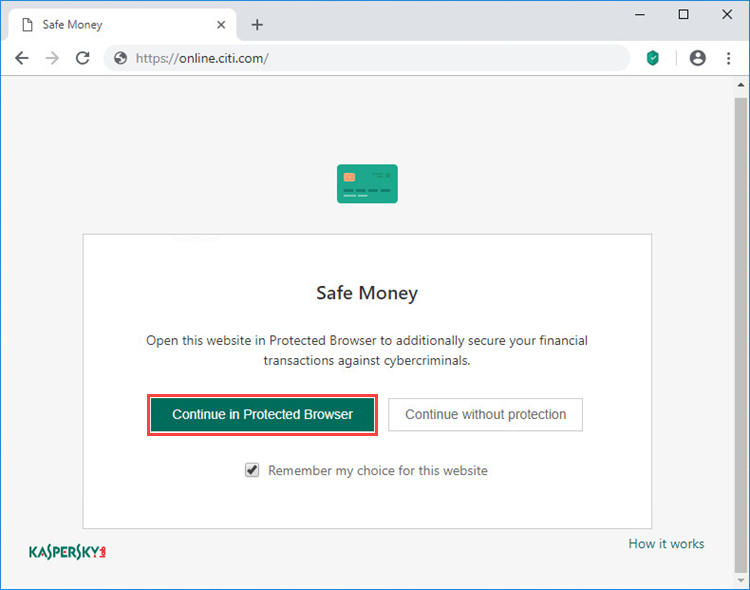 Opening the banking webpage in the browser with the Kaspersky Protection extension installed