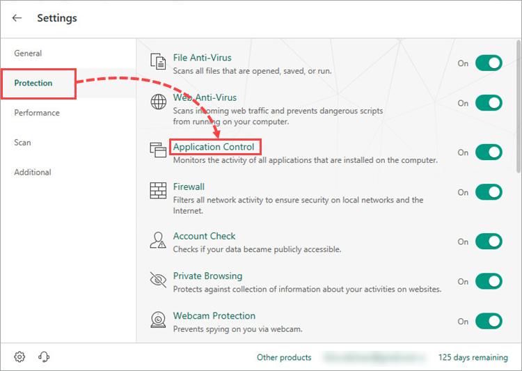 Opening the Application Control window in Kaspersky Security Cloud 19