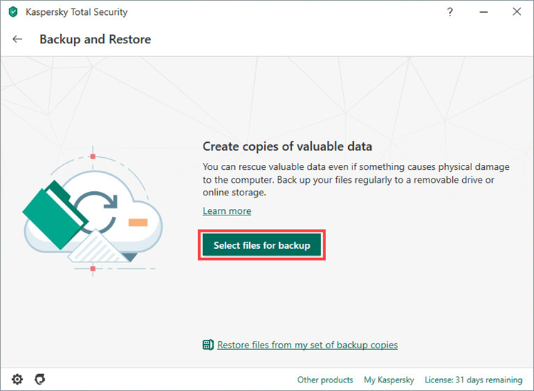 Opening the Select files for backup window in Kaspersky Total Security 20