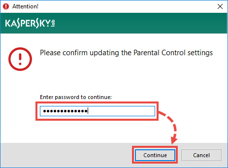 Entering the password for accessing Parental Control in Kaspersky Internet Security 19