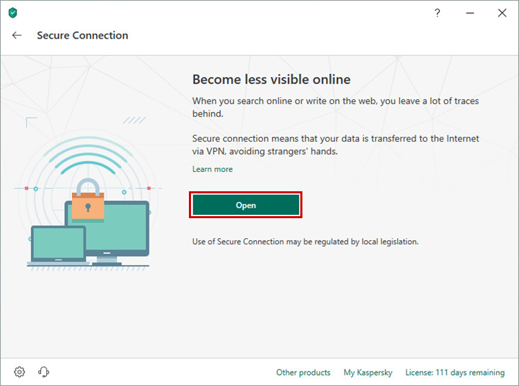Starting Kaspersky Secure Connection through Kaspersky Internet Security 19