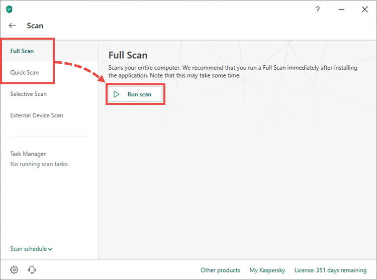 Starting a full or quick scan in Kaspersky Total Security 19