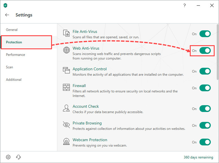 Enabling Web Anti-Virus in Kaspersky Security Cloud 19