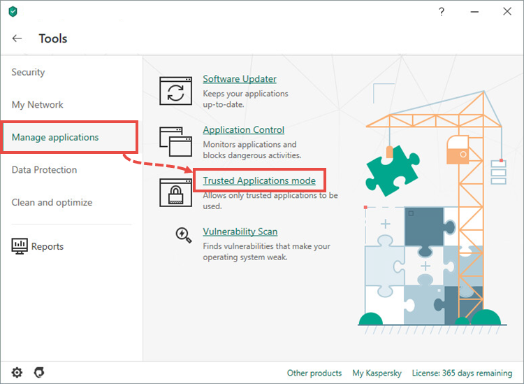 Opening the Trusted Applications mode settings window of Kaspersky Total Security 20