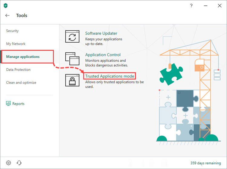 Opening the Trusted Applications mode settings window of Kaspersky Internet Security 19