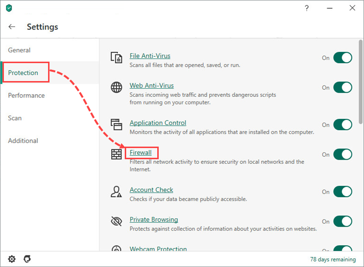 Opening the Firewall settings window of Kaspersky Security Cloud 20