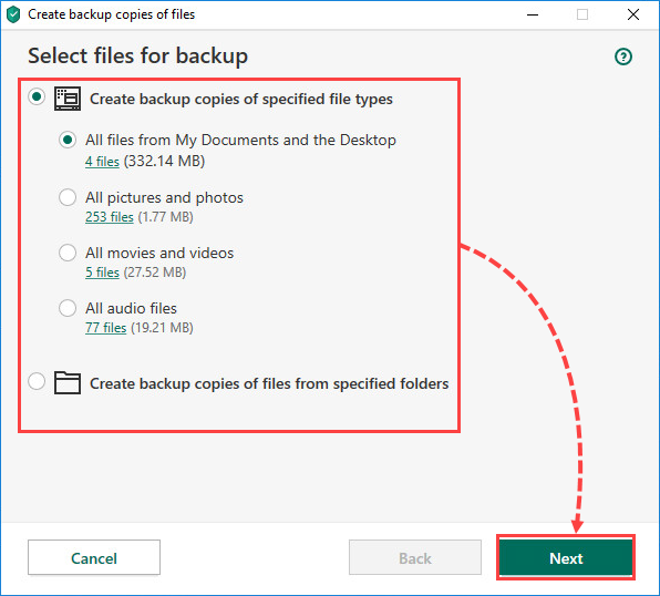Selecting files for backup in Kaspersky Total Security 20
