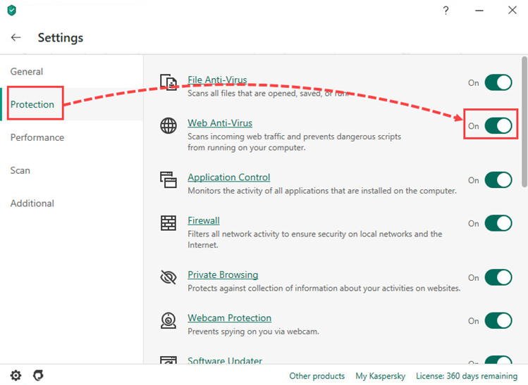 Enabling Web Anti-Virus in Kaspersky Anti-Virus 20