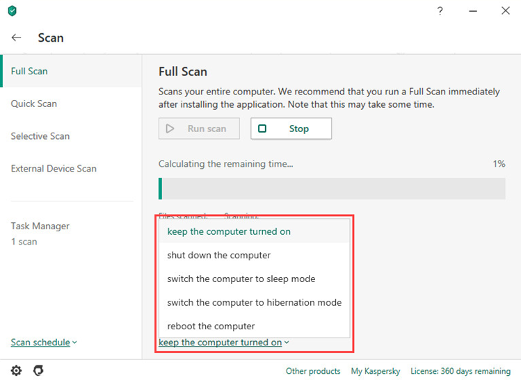 Selecting an action upon completion of a full scan task in Kaspersky Internet Security 20