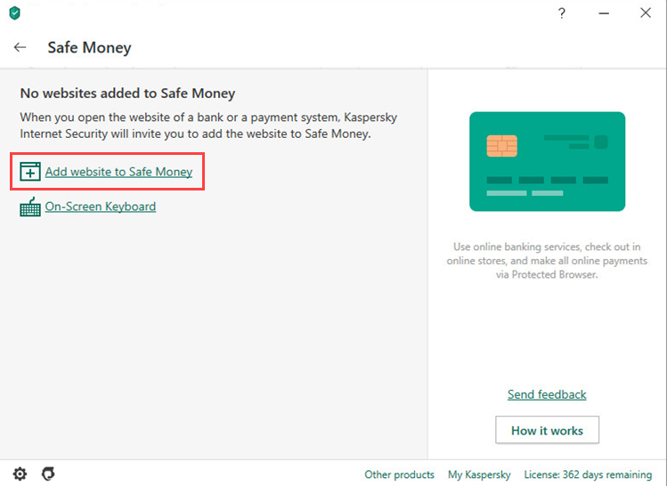 Adding a website to the Safe Money list in Kaspersky Internet Security 20