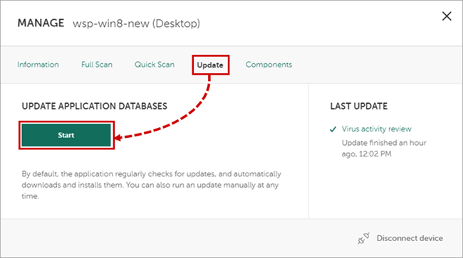 Updating the Kaspersky Total Security 19 databases via My Kaspersky