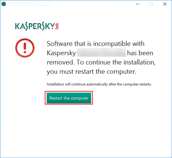 Restarting the computer after removing incompatible applications during the installation of Kaspersky Internet Security 19