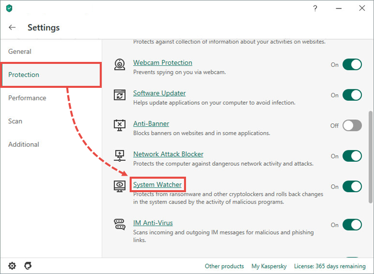 Opening the System Watcher settings in Kaspersky Internet Security 20