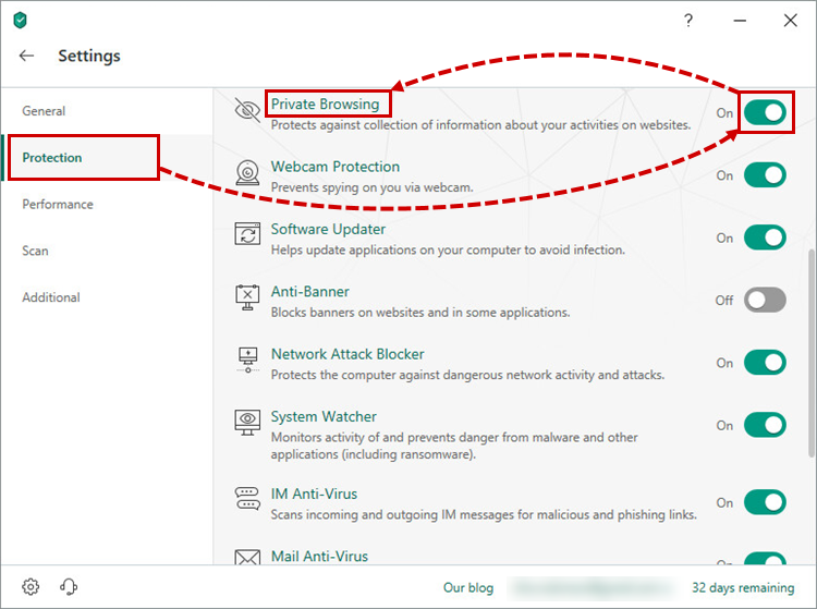 Settings window in Kaspersky Total Security 19