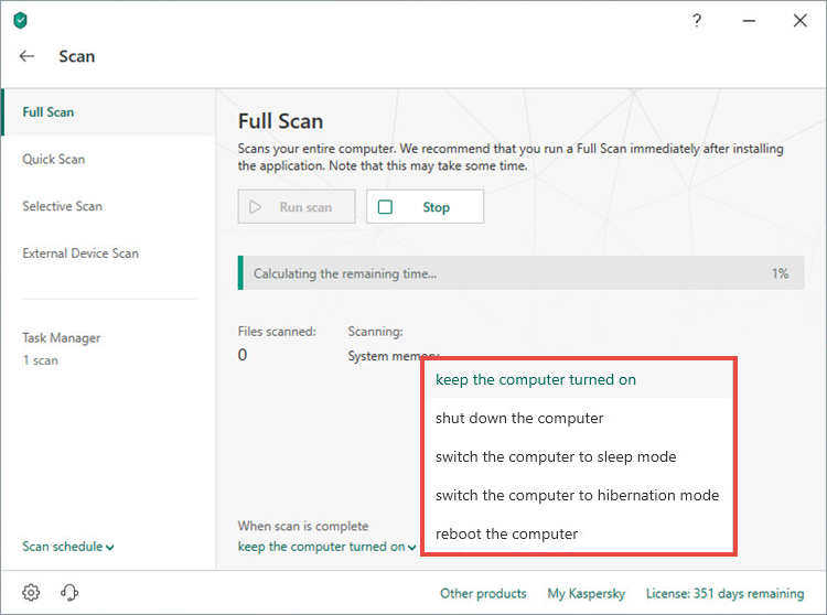 Selecting an action upon completion of a full scan task in Kaspersky Total Security 19