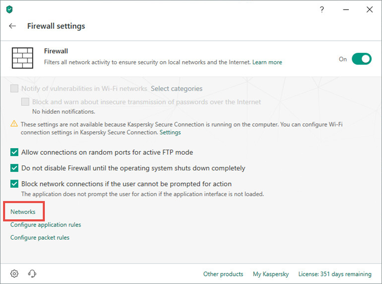 Opening network settings in Kaspersky Internet Security 19