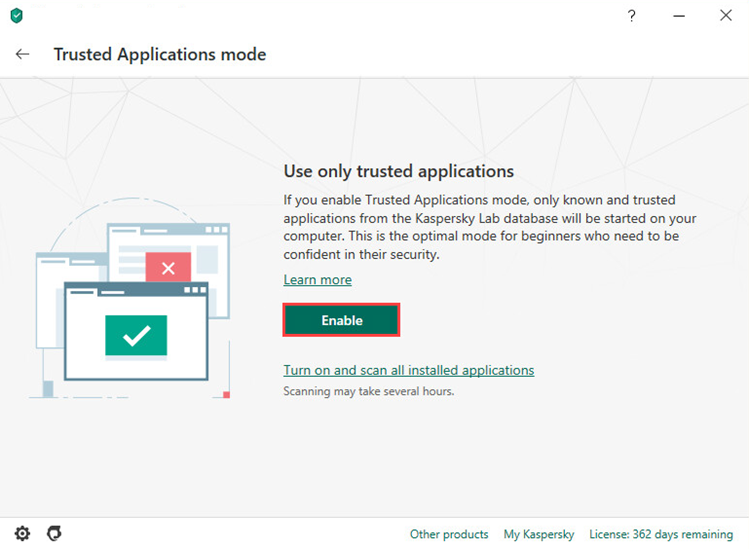 Enabling the Trusted Applications mode in Kaspersky Total Security 20