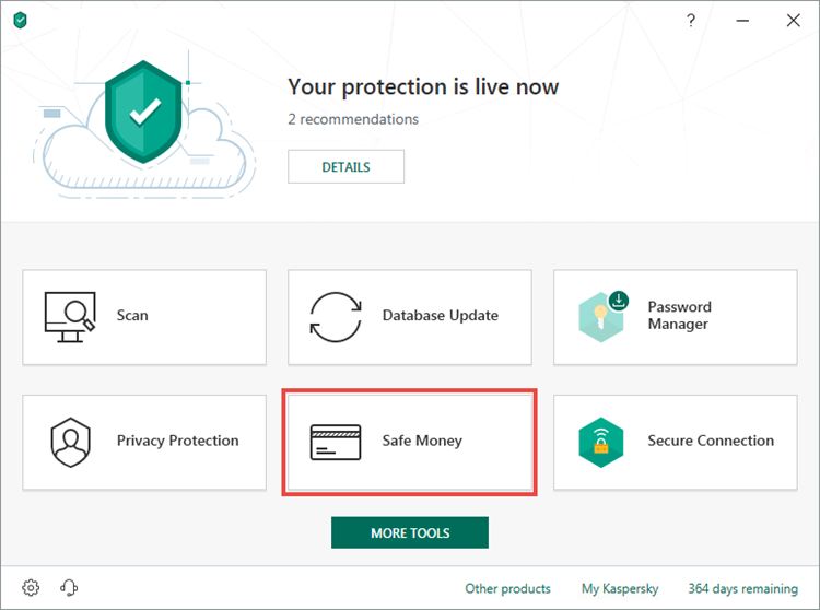 Opening the Safe Money window of Kaspersky Security Cloud 19