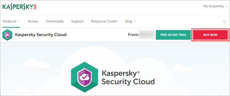 Opening the Kaspersky Security Cloud - Personal or Family page on the offical Kaspersky Lab website