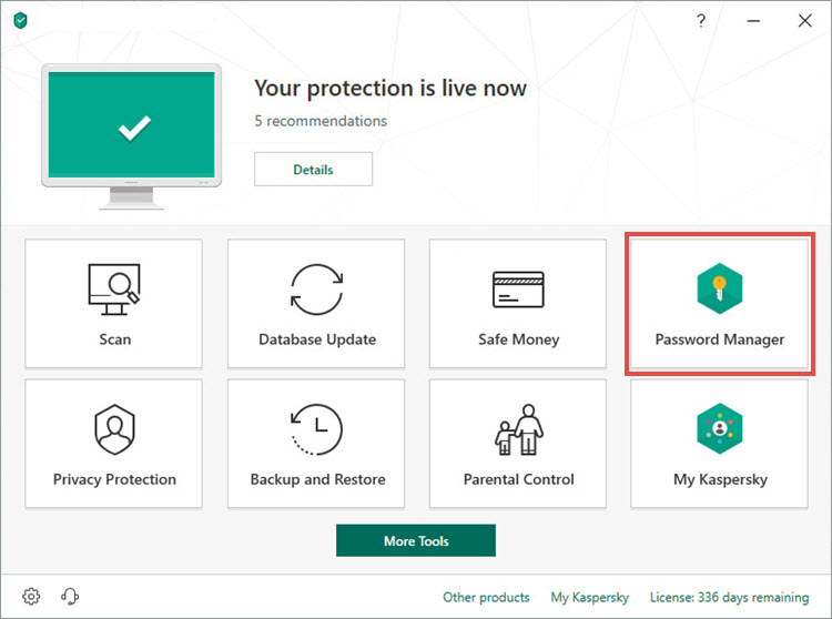 Opening Password Manager in Kaspersky Total Security 19