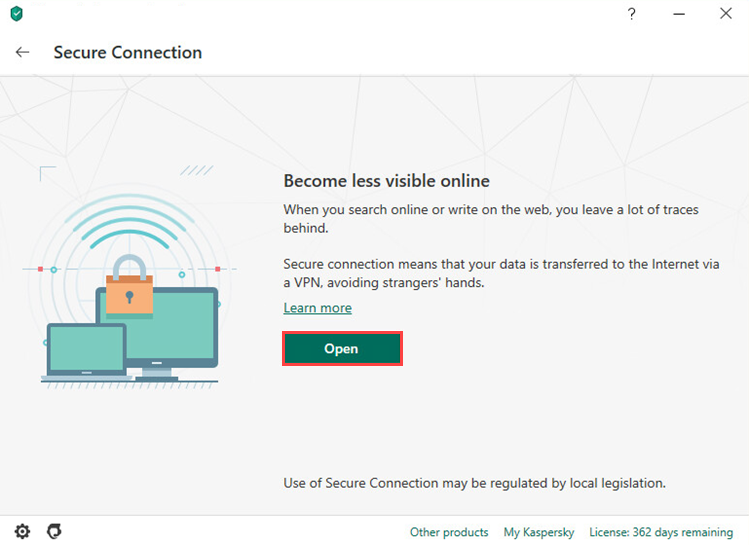 Starting Kaspersky Securе Connection from the interface of Kaspersky Security Cloud 20