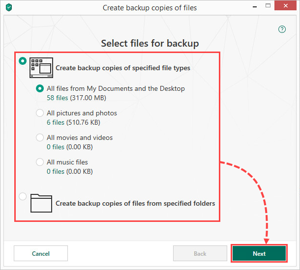 Selecting files for backup in Kaspersky Security Cloud 19