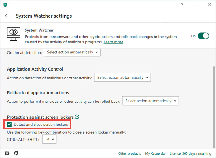Turning on protection against screen lockers in Kaspersky Internet Security 20