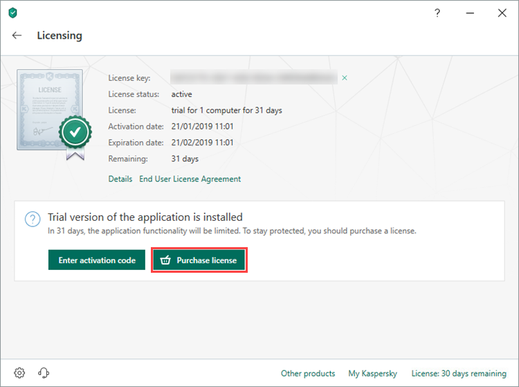 Opening the license purchasing page for Kaspersky Total Security 19