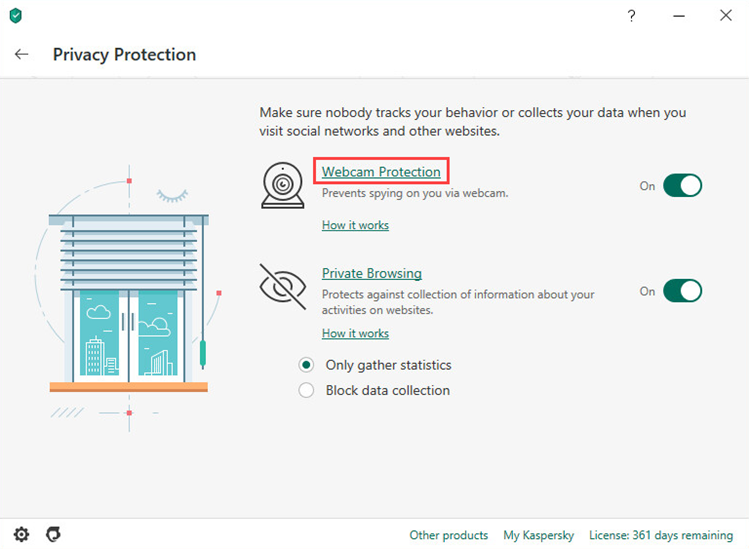 Opening the Webcam Protection settings in Kaspersky Total Security 20