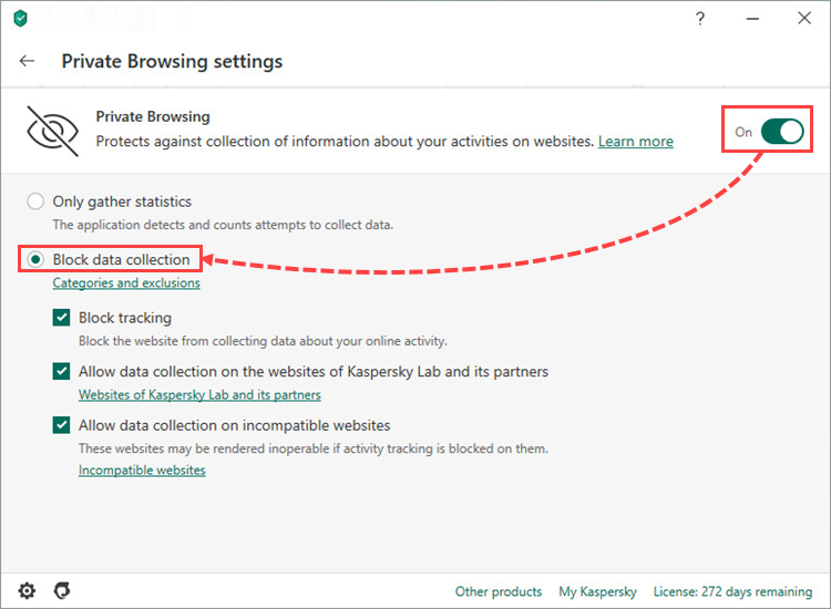 Private Browsing component in Kaspersky Internet Security 20