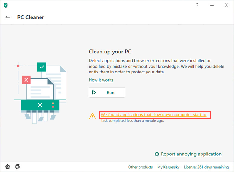 Viewing the list of applications or browser extensions spotted by PC Cleaner feature of Kaspersky Security Cloud 20