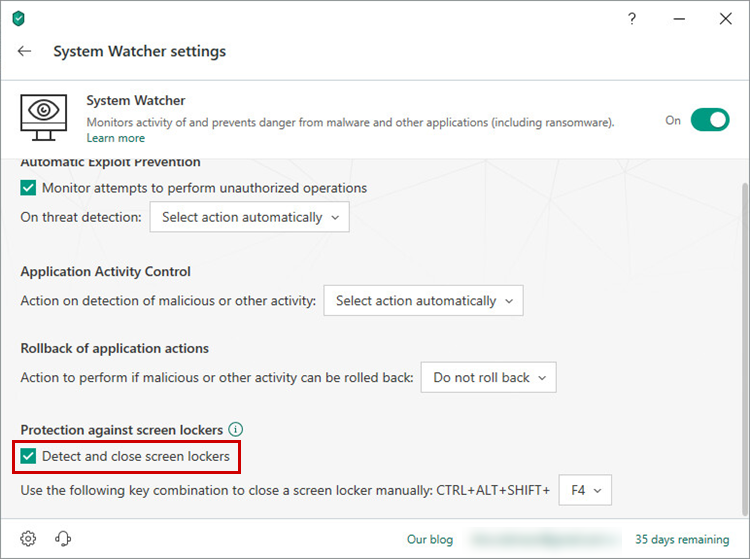 Enabling protection against screen lockers in Kaspersky Total Securitу 19