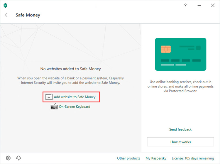 Adding a website to the Safe Money list in Kaspersky Security Cloud 19