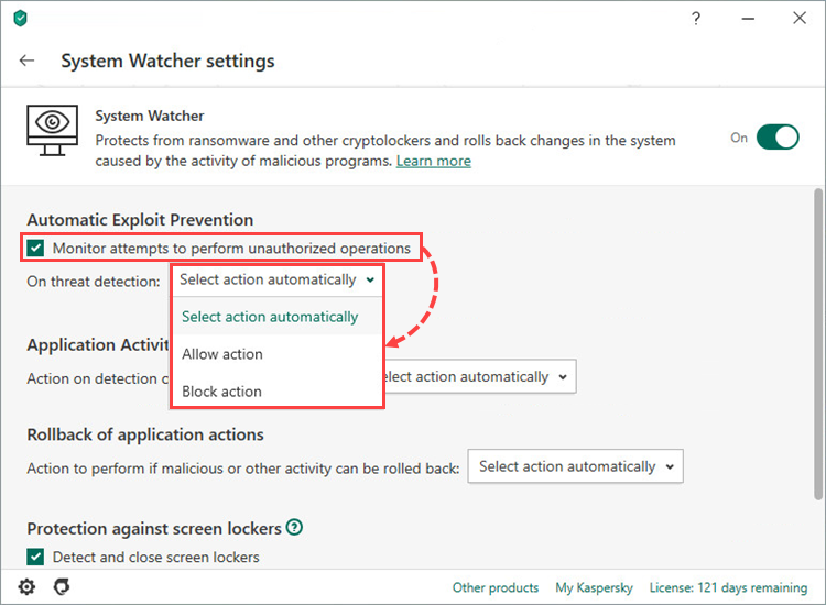 Configuring Automatic Exploit Prevention in Kaspersky Security Cloud 20