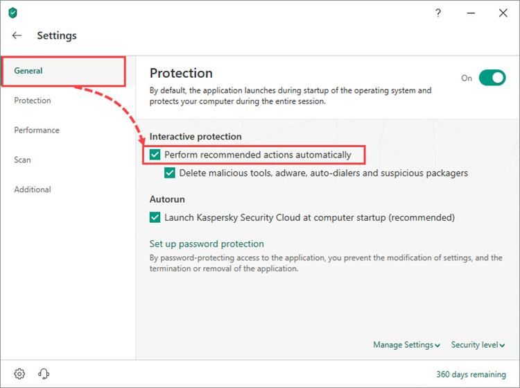 Configuring automatic and interactive protection modes in Kaspersky Security Cloud 19